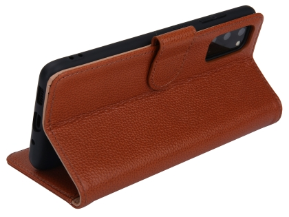Premium Leather Wallet Case for Samsung Galaxy S20+ - Caramel