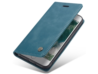 CaseMe Slim Synthetic Leather Wallet Case with Stand for iPhone 8/7 - Teal Leather Wallet Case