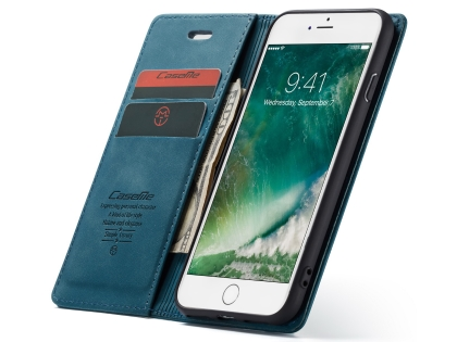 CaseMe Slim Synthetic Leather Wallet Case with Stand for iPhone 8/7 - Teal
