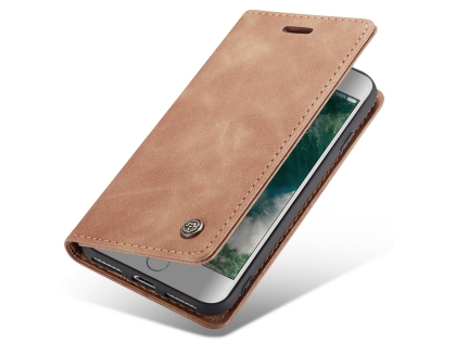 CaseMe Slim Synthetic Leather Wallet Case with Stand for iPhone 8/7 - Beige Leather Wallet Case
