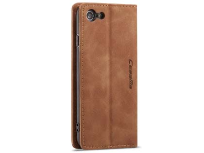 CaseMe Slim Synthetic Leather Wallet Case with Stand for iPhone 8/7 - Tan