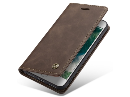 CaseMe Slim Synthetic Leather Wallet Case with Stand for iPhone 8/7 - Chocolate Leather Wallet Case