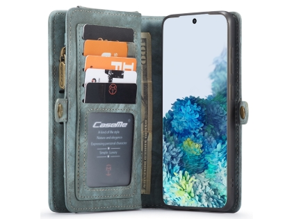 CaseMe 2-in-1 Synthetic Leather Wallet Case for Samsung Galaxy S20 - Teal/Ash