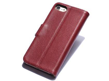 Premium Leather Wallet Case for iPhone SE (2020) - Rosewood Leather Wallet Case