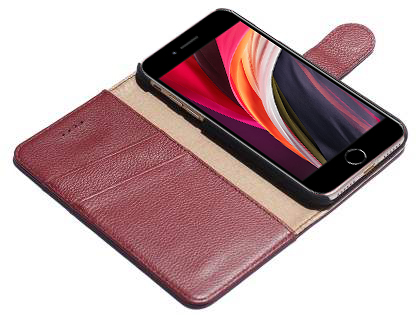 Premium Leather Wallet Case for iPhone SE (2020) - Rosewood