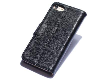 Premium Leather Wallet Case for iPhone SE (2020) - Black Leather Wallet Case