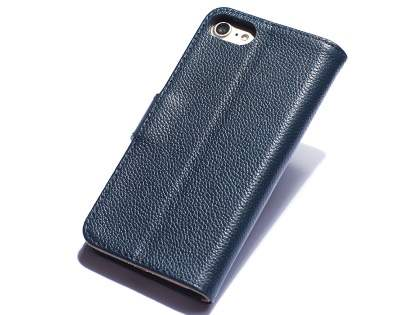 Premium Leather Wallet Case for iPhone SE (2020) - Midnight Blue Leather Wallet Case