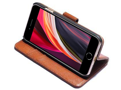 Premium Leather Wallet Case for iPhone SE (2020) - Caramel