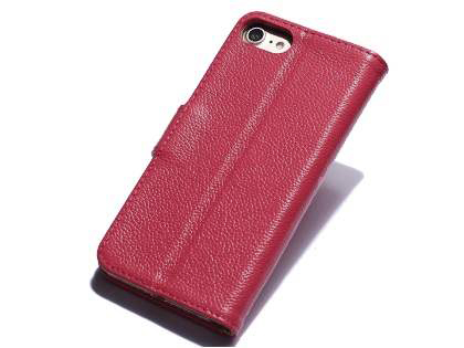 Premium Leather Wallet Case for iPhone SE (2020) - Pink Leather Wallet Case