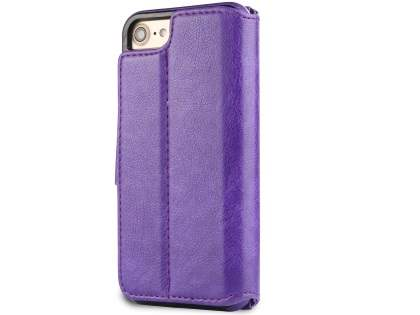 2-in-1 Synthetic Leather Wallet Case for iPhone SE (2020) - Purple
