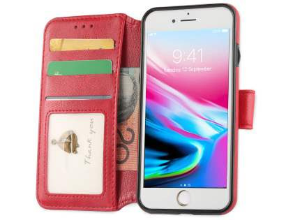 2-in-1 Synthetic Leather Wallet Case for iPhone SE (2020) - Red