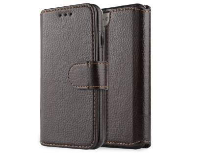 2-in-1 Synthetic Leather Wallet Case for iPhone SE (2020) - Brown