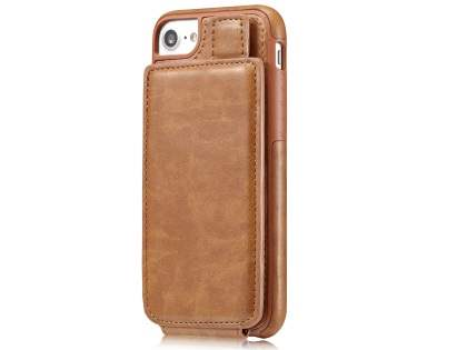 Synthetic Leather Case with Card Holder for iPhone SE (2020) - Brown Leather Wallet Case