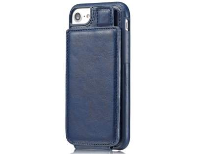 Synthetic Leather Case with Card Holder for iPhone SE (2020) - Navy Leather Wallet Case