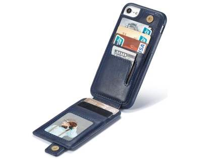 Synthetic Leather Case with Card Holder for iPhone SE (2020) - Navy