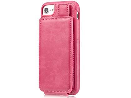 Synthetic Leather Case with Card Holder for iPhone SE (2020) - Pink