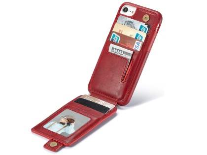 Synthetic Leather Case with Card Holder for iPhone SE (2020) - Red