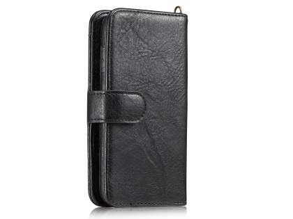 2-in-1 Synthetic Leather Wallet Case for iPhone SE (2020) - Black