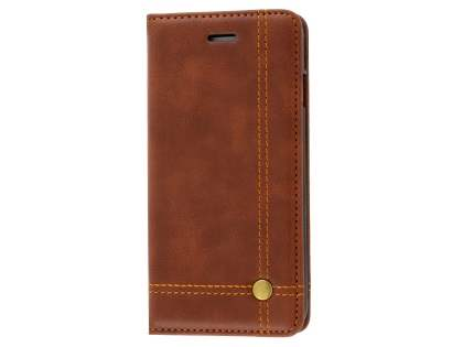 Slim Synthetic Leather Portfolio Case with Stand for iPhone SE (2020) - Chestnut Leather Wallet Case