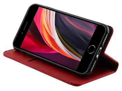 Slim Synthetic Leather Portfolio Case with Stand for iPhone SE (2020) - Red