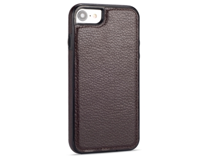 Synthetic Leather Back Cover for iPhone SE (2020) - Brown Hard Case