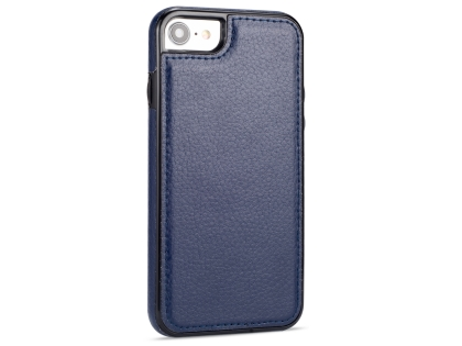 Synthetic Leather Back Cover for iPhone SE (2020) - Midnight Blue Hard Case