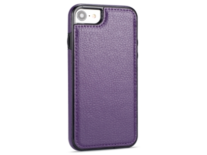 Synthetic Leather Back Cover for iPhone SE (2020) - Purple Hard Case