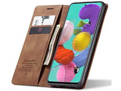 CaseMe Slim Synthetic Leather Wallet Case with Stand for Samsung Galaxy A51 - Tan
