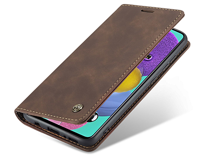 CaseMe Slim Synthetic Leather Wallet Case with Stand for Samsung Galaxy A51 - Chocolate Leather Wallet Case