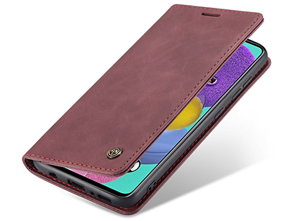 CaseMe Slim Synthetic Leather Wallet Case with Stand for Samsung Galaxy A51 - Burgundy