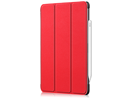 Premium Slim Synthetic Leather Flip Case with Stand for iPad Pro 11 (2020) - Red Leather Flip Case