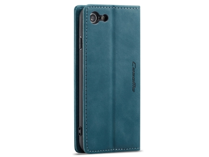 CaseMe Slim Synthetic Leather Wallet Case with Stand for iPhone SE (2020) - Teal
