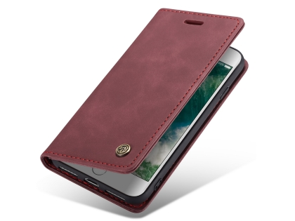 CaseMe Slim Synthetic Leather Wallet Case with Stand for iPhone SE (2020) - Burgundy Leather Wallet Case
