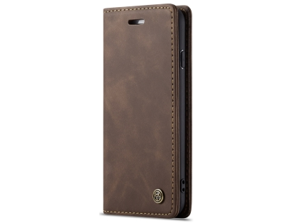 CaseMe Slim Synthetic Leather Wallet Case with Stand for iPhone SE (2020) - Chocolate