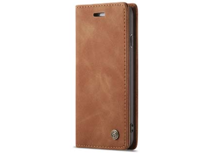 CaseMe Slim Synthetic Leather Wallet Case with Stand for iPhone SE (2020) - Tan
