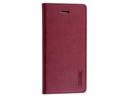 Mercury Goospery Blue Moon Wallet Case for iPhone SE (2020) - Burgundy Leather Wallet Case