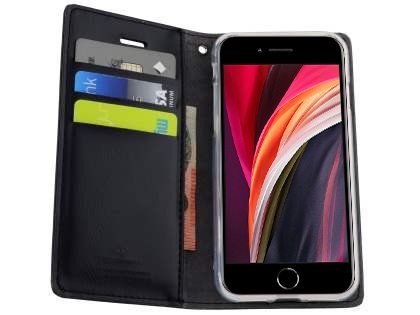 Mercury Goospery Blue Moon Wallet Case for iPhone SE (2020) - Black