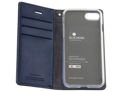 Mercury Goospery Blue Moon Wallet Case for iPhone SE (2020) - Midnight Blue