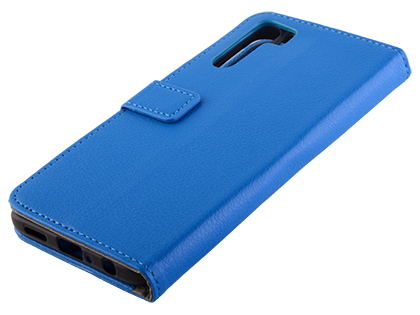 Synthetic Leather Wallet Case with Stand for OPPO A91 - Blue Leather Wallet Case