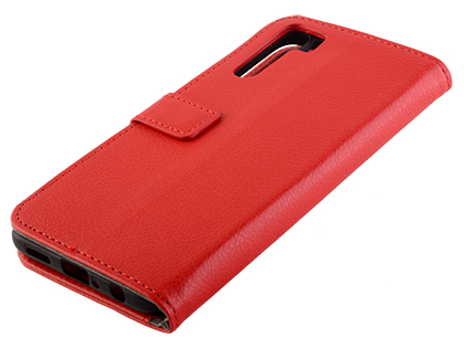 Synthetic Leather Wallet Case with Stand for OPPO A91 - Red Leather Wallet Case