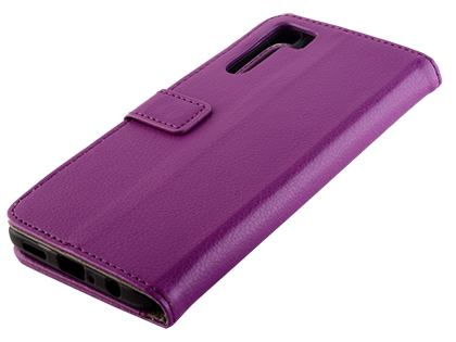 Synthetic Leather Wallet Case with Stand for OPPO A91 - Purple Leather Wallet Case