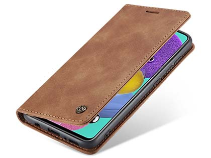 CaseMe Slim Synthetic Leather Wallet Case with Stand for Samsung Galaxy A71 - Tan