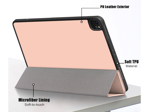 Premium Slim Synthetic Leather Flip Case with Stand for iPad Pro 12.9 (2018) - Gold