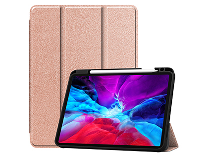 Premium Slim Synthetic Leather Flip Case with Stand for iPad Pro 11 (2020) - Rose Gold Leather Flip Case