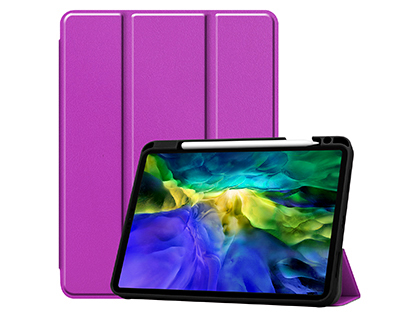 Premium Slim Synthetic Leather Flip Case with Stand for iPad Pro 11 (2020) - Purple