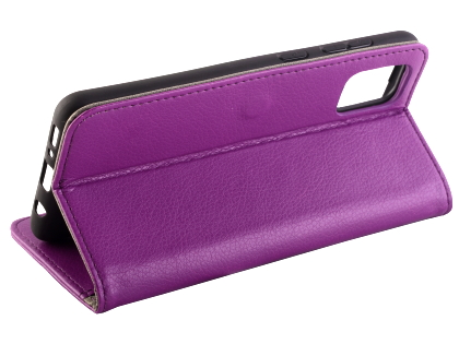 Synthetic Leather Wallet Case with Stand for Samsung Galaxy A31 - Purple
