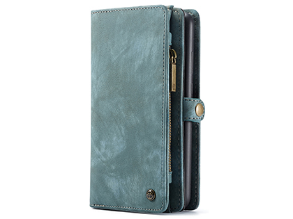 CaseMe 2-in-1 Synthetic Leather Wallet Case for Samsung Galaxy A20 - Teal/Ash Leather Wallet Case