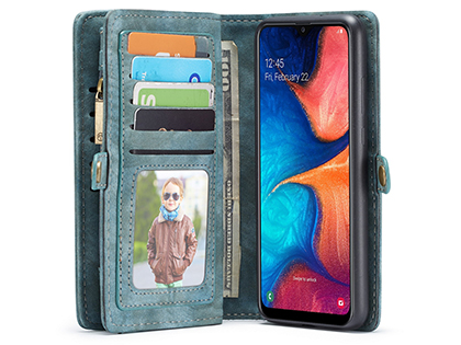 CaseMe 2-in-1 Synthetic Leather Wallet Case for Samsung Galaxy A20 - Teal/Ash