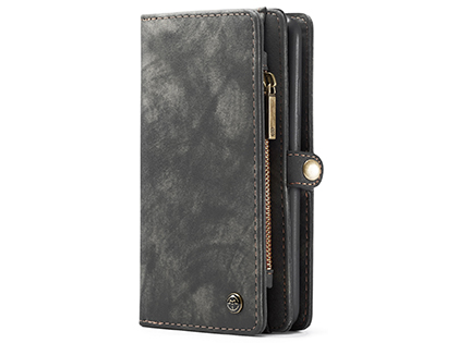 CaseMe 2-in-1 Synthetic Leather Wallet Case for Samsung Galaxy A51 - Khaki/Grey Leather Wallet Case