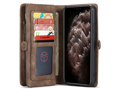 CaseMe 2-in-1 Synthetic Leather Wallet Case for iPhone 11 Pro Max - Beige/Tan